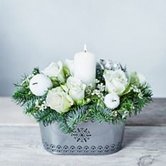 White Christmas Candle Centrepiece