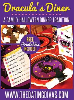 A spooky and kooky halloween dinner idea that will fit ANY meal. This is TOTALLY going to be a new tradition at my house! Free printables included!! www.TheDatingDivas.com #familyfun #halloweendinnerideas #halloweenfamilytradition