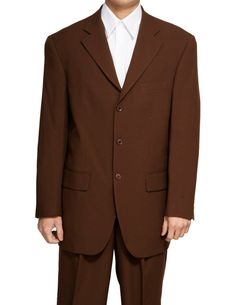 New Men's 3 Button Single Breasted Brown Dress Suit