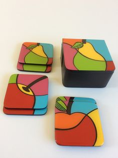 Coasters and wooden base , handmade , painted wood, Fruits The Coasters, Felt Coasters, Wood Coasters, Fabric Painting, Painting On Wood, Tulip Colors, Bright Colors, Pichwai Paintings, Coaster Art