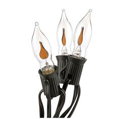 Flickering Flame Lights. I bought 3 sets of these. Real glass bulbs and these flicker brightly.