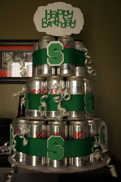 "Michigan State beer birthday ""cake"""