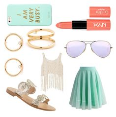 """Gold, violet, coral, and Aqua the perfect summer combo!"" by caroline-clx ❤ liked on Polyvore featuring Jack Rogers, Ray-Ban, Chicwish, ban.do, NYX, contestentry and jenchaexmejuri"