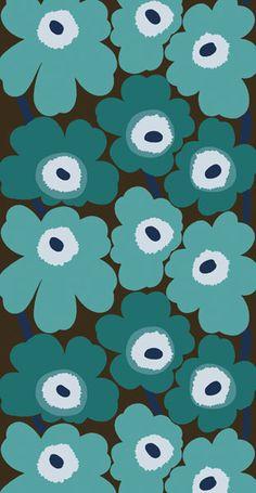Pattern - turquoise flowers, MARIMEKKO - Unikko                              …                                                                                                                                                                                 More