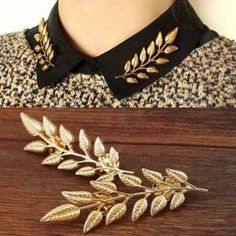 1Pair Vintage Gold Silver Leaf Collar Pins Brooches Jewelry Unisex at Banggood Boho Jewelry, Jewelry Accessories, Fashion Accessories, Fashion Jewelry, Women Jewelry, Silver Jewelry, Jewelry Gifts, Gold Jewellery, Fashion Beads