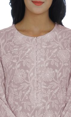 As far as salwars go, Shahi Patiala Salwars exude grace and elegance. This is a handcrafted sage green pure georgette shirt with intricate hand embroidered chikankari all over front back and sleeves. The shirt has a round shaped neckline and inche Chikankari Suits, Patiala Suit, Shalwar Kameez, Punjabi Suits, Bodice Pattern, Neck Pattern, Salwar Pattern, Dress Neck Designs, Blouse Designs