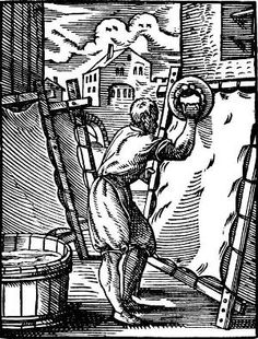 From the Collection Care blog post 'Parchment Conservation'. Image: Parchment maker at work.  Woodblock print by Jost Amman, from Das Ständebuch (1568).