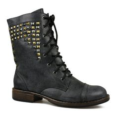 Womens Washout Black Studded Lace Up Workman Boots - Boots -... ($13) ❤ liked on Polyvore featuring shoes, boots, botas, chaussures, laced boots, lace up shoes, studded boots, lace-up boots and black lace up shoes