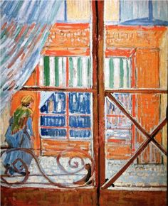 Vincent van Gogh: A Pork-Butcher's Shop Seen from a Window.  Oil on canvas on cardboard.  Arles: February, 1888. Amsterdam: Van Gogh Museum.