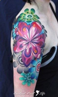 Pink Flower Shoulder Tattoo... AMAZING coloring