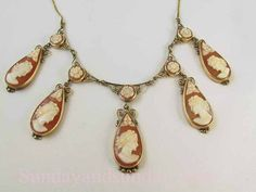 Stunning Edwardian 14k gold cameo 5 tear drop by SundayandSunday, $975.00