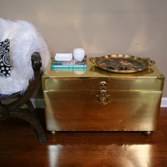 Vintage Coffee Table Brass Trunk Gold Chest End Table Hollywood Regency…