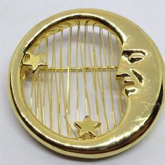 Signed M JENT Vintage MOON FACE w STARS BROOCH PIN Wire Work Gold Tone Celestial #Jent $5.00 Sale! #ebay #bringbackthebrooch #costumejewelry