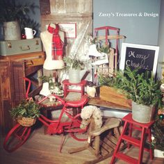Getting ready to add more Season Treasures to the Etsy Shop! #Christmas #Vintage #Sled #ZassysTreasures