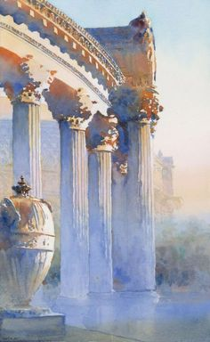"""Palace of Fine Arts"" by Michael Reardon.  This is spectacular mastery in handling the use of contrasting warm and cool colors, with almost an impressionist look to it."