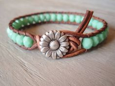 """Boho leather wrap bracelet, """"Country Girl"""", Shabby chic, turquoise, silver daisy flower"""