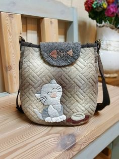 Japanese Bag, Japanese Quilts, Patchwork Bags, Quilted Bag, Cat Purse, Animal Bag, Baby Girl Sweaters, Bag Pattern Free, Cat Quilt