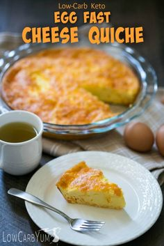 It's not always easy to find time to cook. Bake a low carb keto egg fast cheese quiche on the weekend to have easy LCHF egg fast friendly meals during the week. | LowCarbYum.com