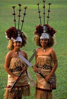 Samoa  This is the costume of a Taupou - a ceremonial hostess selected by a high chief of a Samoan village from the young girls of his household, elevated to a high rank, and charged with the formal reception and entertainment of visitors. They will usually perform a dance as a greeting ceremony. @ http://fashion.allwomenstalk.com