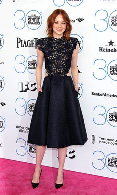 Red Carpet Watch Independent Spirit Awards: Emma Stone by Monique Lhuillier.
