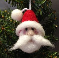 Needle Felted Santa Claus Ornament  Christmas Wool Felt by bysusi