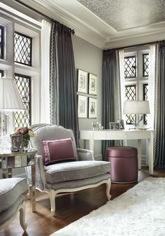 Drapes edged in beautiful trim | Wallpapered ceiling | Photo By - Peter Rymwid: