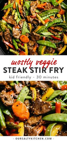 Mostly Veggie Steak Stir Fry This steak stir fry with all of the vegetables is a weeknight superhero! Tender shreds of beef are tossed with five different rainbow vegetables in a paleo, gluten free, and sugar free stir fry sauce that does Tofu Stir Fry, Healthy Stir Fry Sauce, Steak Stir Fry, Healthy Steak, Veggie Stir Fry, Beef Stir Fry Sauce, Paleo Stir Fry, Steak Stirfry Recipes, Beef Recipes