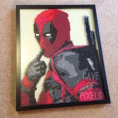 Deadpool pixel bead art by caveofpixels