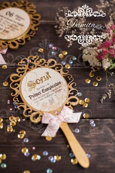Invitation, princess, gold, espejito, princesa