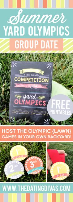 Fun group yard games date idea with free printable signs! www.TheDatingDivas.com
