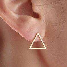 Gold Silver Pink Gold Triangle Earrings