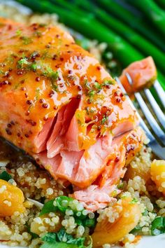 Dijon Glazed Salmon The perfect mix of sweet, spicy amp; salty are combined to create this uniquely Apricot Dijon Glazed Salmon.The perfect mix of sweet, spicy amp; salty are combined to create this uniquely Apricot Dijon Glazed Salmon. Salmon Dishes, Fish Dishes, Seafood Dishes, Apricot Recipes, Salmon Recipes, Healthy Prepared Meals, Healthy Dinners, Clean Eating, Healthy Recipes