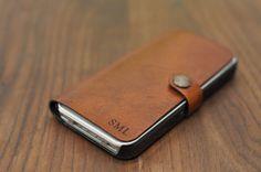IPhone Etui pour iPhone 5 cuir / 5 s / 4 / 4 s avec vos initiales, la coutume antique brown cas