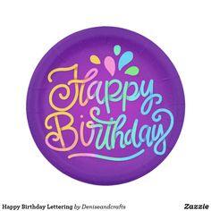 Birthday Text, Birthday Letters, Happy Birthday, Paper Plates, Birthday Celebration, Cupcake Toppers, Birthdays, Cupcakes, Lettering