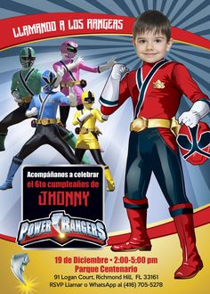 Power Rangers Birthday Invitation with your kid as the star of the invitation. Turn him into a Power Ranger. Power Rangers Samurai, Power Rangers Ninja Steel, Power Rangers Dino, 1st Birthday Invitation Template, Pirate Invitations, Custom Birthday Invitations, Invitation Ideas, Printable Invitations, Invitation Design