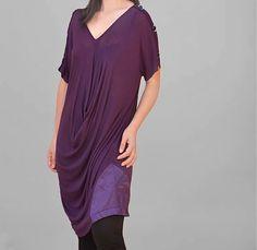 Draped Tunic/purple Tunic/collar V Tunic/Tunic in by Danideng, $66.40