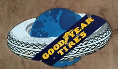 Goodyear Tires Vintage Porcelain Sign (Old Antique Automobile Tire Advertising)
