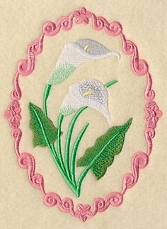 Flower Cameo - Calla Lilies, Embroidered flour sack towel, tea towel, hand towel or dish towel by embroiderybybeverly on Etsy