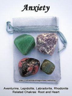 Anxiety Crystal Healing Set Aventurine, Lepidolite, Rhodonite, Labradorite. by dragonfaecreations, $8.00