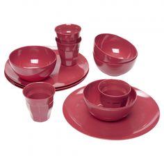 Red Melamine Dinner Set, Picnic Set, Dinner Sets, Camping, Drinks, Eat, Tableware, Kitchen, Dining Sets