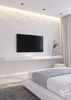 A minimalistic design project in the style of cyber punk. Ultra-modern design in the accents of cyberpunk - smart interior for a talented host. Wardrobe Design Bedroom, Luxury Bedroom Design, Home Room Design, Master Bedroom Design, Living Room Designs, Interior Design, Bedroom Design Minimalist, Bedroom Tv Wall, Home Decor Bedroom