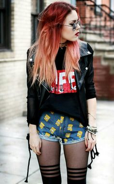 Cool Luanna Perez outfit. Leather, the simpsons shorts.vintage tee.lots of jewerly.tights and sunglasses.gorgeous red ombre hair. Perfect!