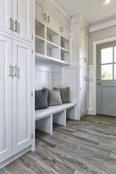 We love this flooring in the Mudroom