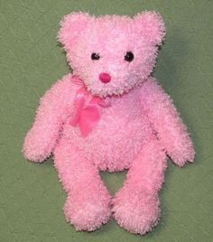 """Ty Pinkys SHIMMERS 15"""" Teddy Bear Curly Pink with Original Bow No Heart Tag 2004 #Ty"""