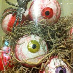 Spooky Eyeballs - made using ping pong balls! Halloween decorating