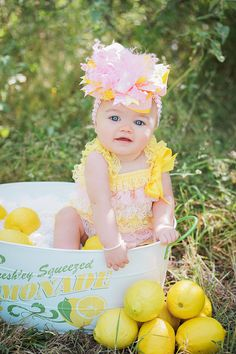 7cdfe8ff6ca7 Baby girl will bring cheer wherever she goes in our Yellow and Pink Lace  Romper and