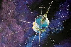 An artist's illustration depicts ISEE-3 (ICE) spacecraft.