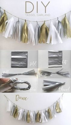 DIY Tassel Garland Yes, I finally made one of these adorable t. - DIY Tassel Garland Yes, I finally made one of these adorable tassel garlands, and - Diy Tassel Garland, Diy Party Tassels, How To Make Tassle Garland, Diy Party Garland, Silver Garland, Baby Shower Garland, White Garland, Garland Wedding, Adult Birthday Party