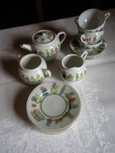 Your place to buy and sell all things handmade Antique Tea Sets, Antique Toys, Childrens Tea Sets, Kids Play Kitchen, Tea Cart, China Tea Sets, Tea Pot Set, Chocolate Pots, Vintage Dishes