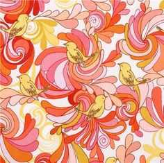 white In the Bloom Garden colorful bird flowers fabric by Robert Kaufman  1